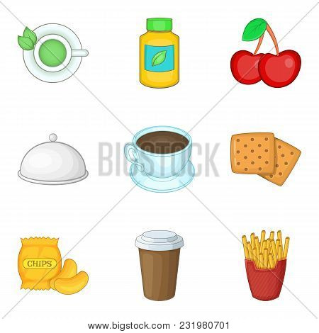 Good Nutrition Icons Set. Cartoon Set Of 9 Good Nutrition Vector Icons For Web Isolated On White Bac