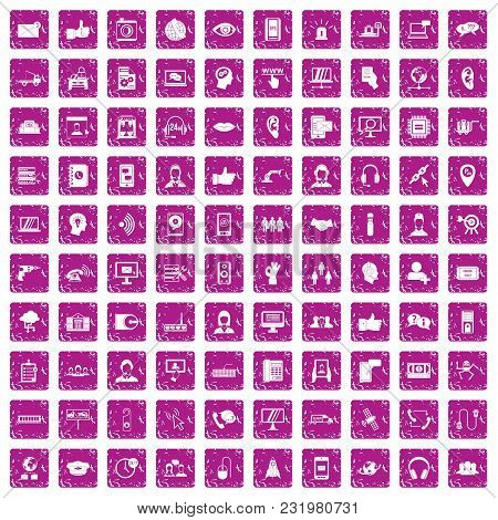 100 Call Center Icons Set In Grunge Style Pink Color Isolated On White Background Vector Illustratio