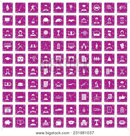 100 Career Icons Set In Grunge Style Pink Color Isolated On White Background Vector Illustration