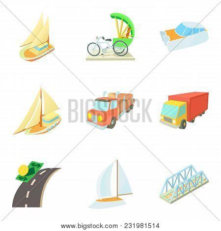 Means Of Transportation Icons Set. Cartoon Set Of 9 Means Of Transportation Vector Icons For Web Iso