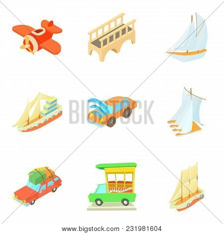 Mode Of Transport Icons Set. Cartoon Set Of 9 Mode Of Transport Vector Icons For Web Isolated On Whi