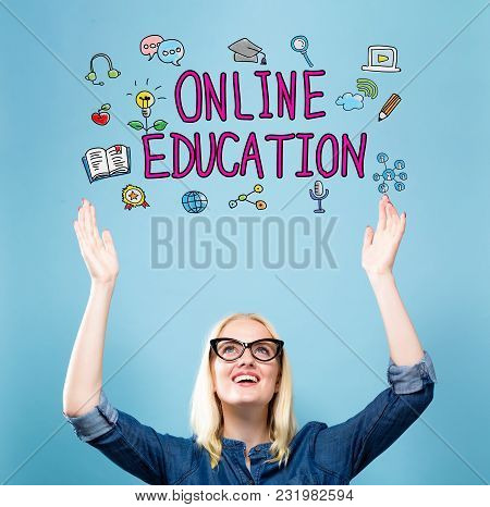 Online Education With Young Woman Reaching And Looking Upwards