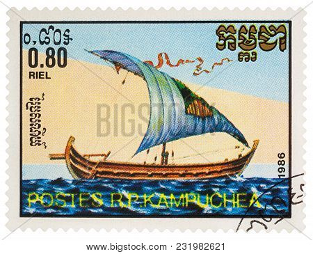Moscow, Russia - March 18, 2018: A Stamp Printed In Cambodia Shows Ancient Sailing Ship Nile Barge,