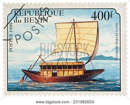 Moscow, Russia - March 20, 2018: A Stamp Printed In Benin Shows Old Traditional Sailing Boat Dacca P