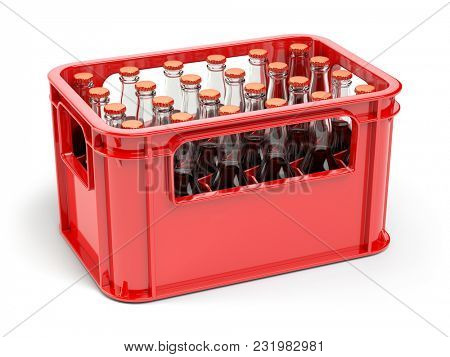 Bottles with soda or cola in the red strage crate for bottles. 3d illustration