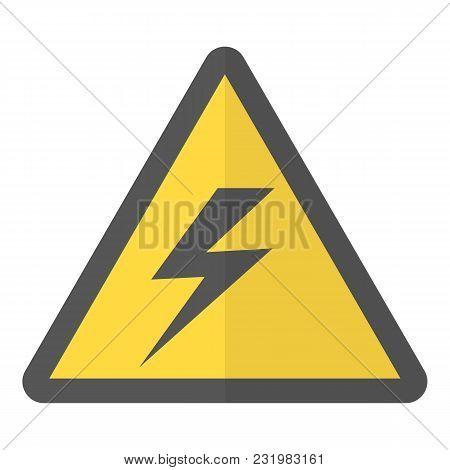 Electricity Warning Icon. Flat Illustration Of Electricity Warning Vector Icon For Web