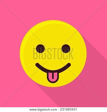 Teasing Emoticon Icon. Flat Illustration Of Teasing Emoticon Vector Icon For Web