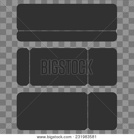 Set Of Blank Cinema, Party Or Concert Ticket Mockup Template. Vector.