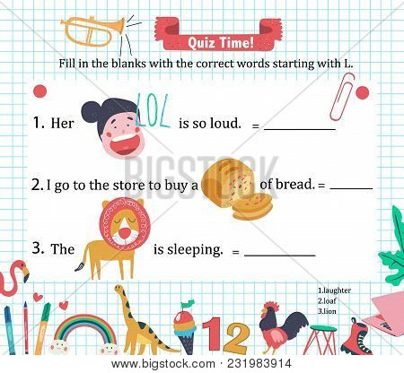 Doodle A-z Alphabet Exercise For Kids: Writing Letter L Vocabulary Puzzle With Laughter, Loaf, And L
