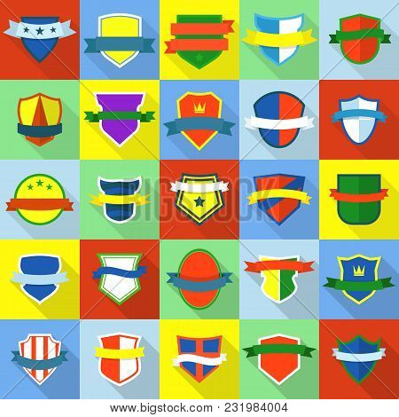 Shield Badge Icons Set. Flat Illustration Of 25 Shield Badge Vector Icons For Web