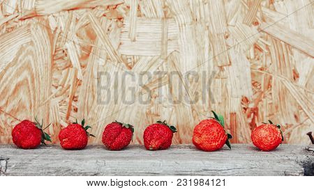 Line Of Ripe Red Strawberries On Brown Wooden Background, Set Of Two Different Foreshortenings