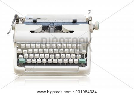Front View Di Cut White Old Typewriter On White Background,object,ancient,decoration,copy Space