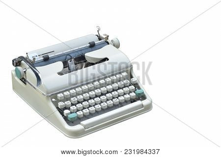 Side View Di Cut Typewriter On White Background,object,copy Space