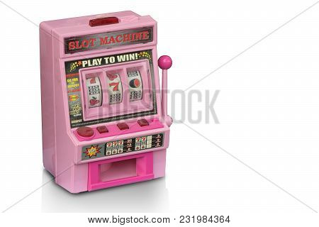Side View Dicut Pink Old Toy Slot Machine On White Background,copy Space