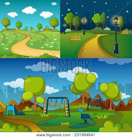 Park Alley Way Banner Concept Set. Cartoon Illustration Of 3 Park Alley Way Vector Banner Horizontal