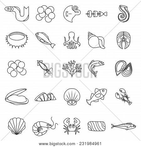 Seafood Fish Ocean Icons Set. Outline Illustration Of 25 Seafood Fish Ocean Vector Icons For Web