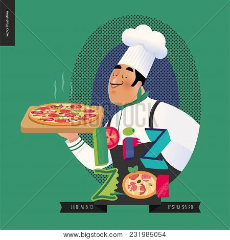 Italian Restaurant Set - Italian Restaurant Logo With A Cook Enjoing The Pizza Smell And Lettering P