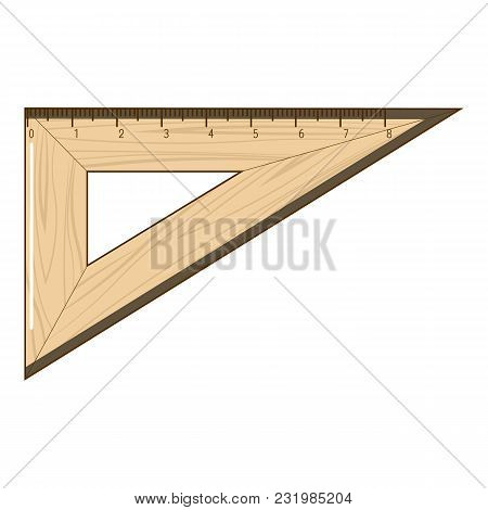 Wooden Ruler Icon. Cartoon Illustration Of Wooden Ruler Vector Icon For Web