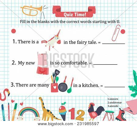 Doodle A-z Alphabet Exercise For Kids: Writing Letter U Vocabulary Puzzle With Utensils, Unicorn, An
