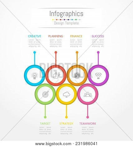 Infographic Design Elements For Your Business Data With 7 Options, Parts, Steps, Timelines Or Proces
