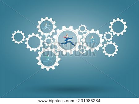 Businessman Running Inside Contacting Gears, Cog Wheel Showing Team Work, Cooperation, Communication