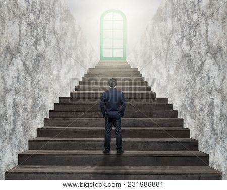 Businessman Standing For Walking Up Stairs To The Door Over The Cloud Sun Over The Cityscape Backgro