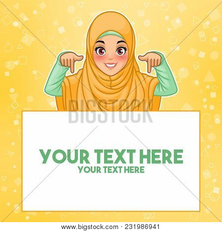 Young Muslim Woman Wearing Hijab Veil Pointing Finger Down At Copy Space, Cartoon Character Design,