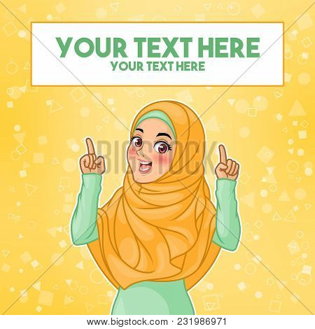 Young Muslim Woman Wearing Hijab Veil Pointing Finger Up At Copy Space, Cartoon Character Design, Ag