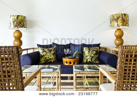 Contemporary Sofa Bamboo Seating Area