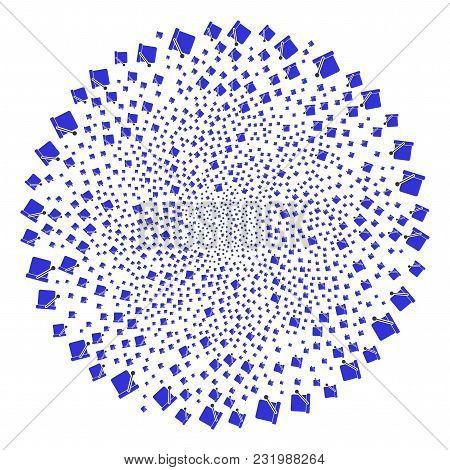 Bucket Swirl Source. Object Twirl Created From Random Bucket Items. Vector Illustration Style Is Fla