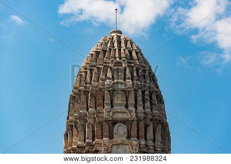 Detail Of Prang In Wat Ratchaburana Temple Ruins In Ayutthaya. Unesco World Heritage Site. Thailand