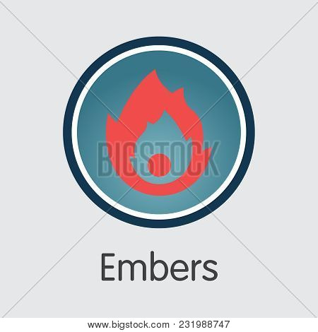 Embers - Cryptocurrency Sign Icon. Vector Element Of Blockchain Cryptocurrency Icon On Grey Backgrou