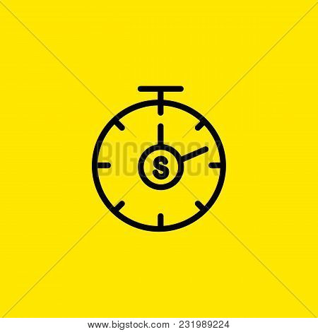 Icon Of Stop Watch With S In Center. Start, Second, Speed. Time Concept. Can Be Used For Topics Like