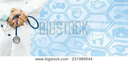 Doctor On Medical Icons Background