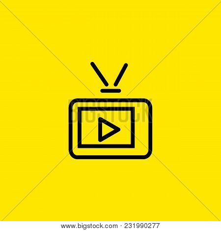 Icon Of Tv With Play Sign On Screen And Antenna. Retro, Television, Symbol. Telecommunication Concep