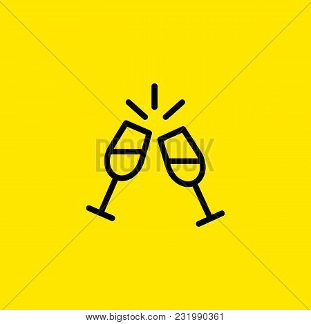 Icon Of Two Wine Glasses. Cheers, Toast, Dinner. Celebration And Drinks Concept. Can Be Used For Top