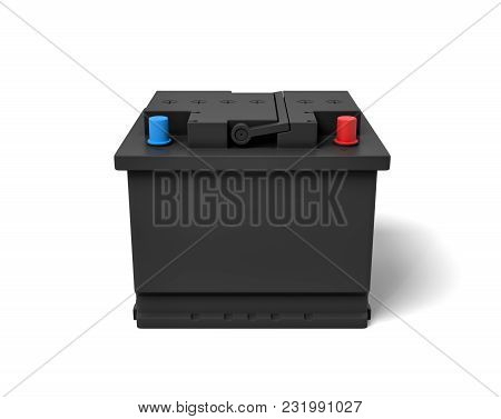 3d Rendering Of Black Car Battery With Colorful Terminals Isolated On White Background. Energy Sourc