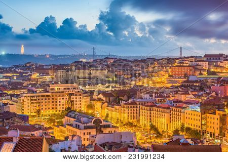 Lisbon, Portugal City Skyline over the Baixa district.