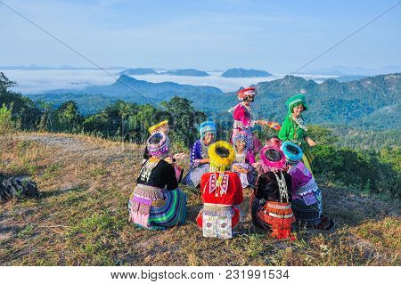 Tak, Thailand - November 11, 2011: Group Of Beautiful Hill Tribe Girls With Their Colorful Dresses P