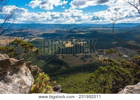 Aerial View On Beautiful Countryside Landscape From Mount Blackheath Lookout. Nature Background