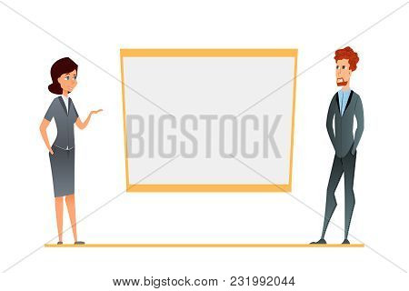 Business Conference Presentation, Team Training. Cartoon Characters In The Corporate Environment Sho