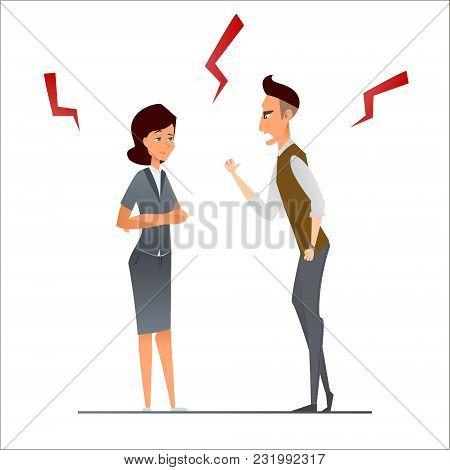 Couple Business Man Argument, Vector Illustration Cartoon