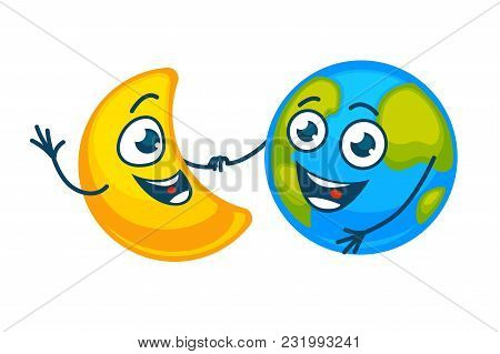 Earth And Golden Moon With Happy Faces Hold Hands. Planet In Cheerful Mood And Shiny Crescent With B