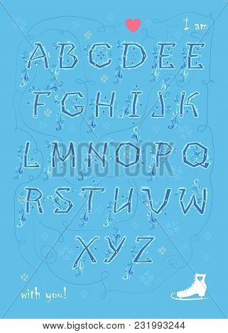Artistic Alphabet With Encrypted Romantic Message I Am Enamored With You. Blue Letters With Geometri