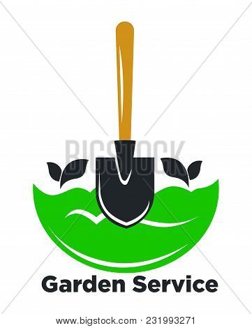 Garden Service Promotional Logotype With Spade And Green Ground. Plants Growing Advertisement Emblem