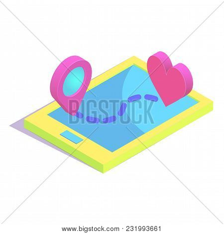 Isometric Route To Heart Simple Icon. Online Dating Service Concept Vector Illustration