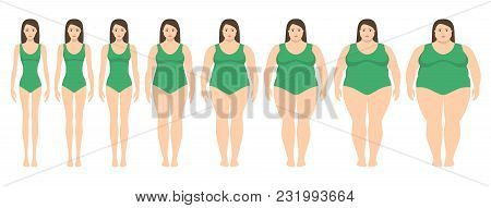 Vector Illustration  Of Women With Different  Weight From Anorexia To Extremely Obese. Body Mass Ind