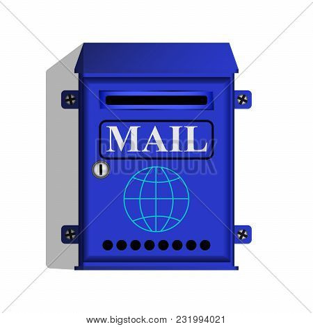 Blue Mail Box For Letters And Newspapers. Vector Illustration