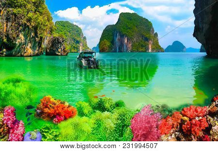 Collage Of Underwater Coral Reef And Sea Surface With Green Island On The Horizon In The Andaman Sea