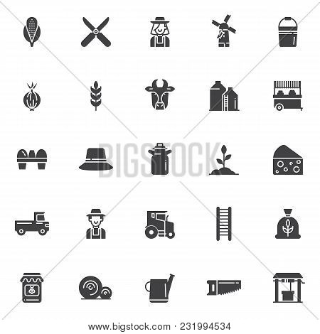 Agriculture Vector Icons Set, Modern Solid Symbol Collection, Filled Style Pictogram Pack. Signs, Lo